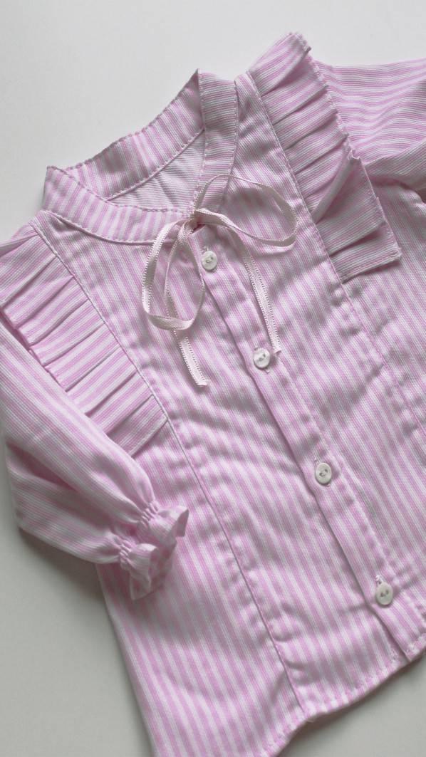 Camisa pregas - riscas rosa